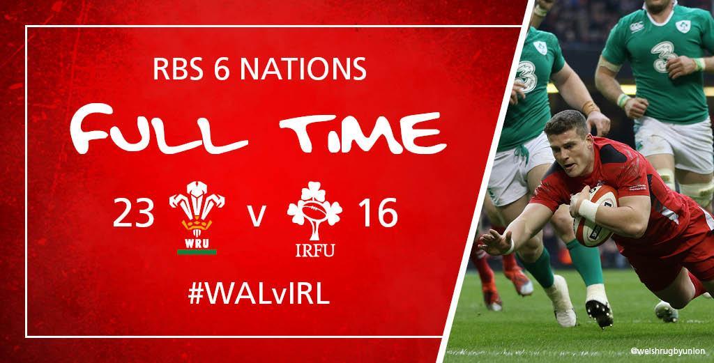 FT Wales 23 - 16 Ireland #WALvIRL http://t.co/6MXqW19n9c