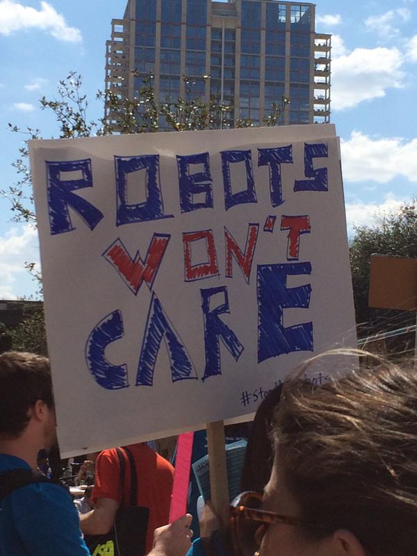 So there was a robot protest at South by Southwest. Really. http://t.co/ZESHig3rr5 http://t.co/j6CcEyxdCG