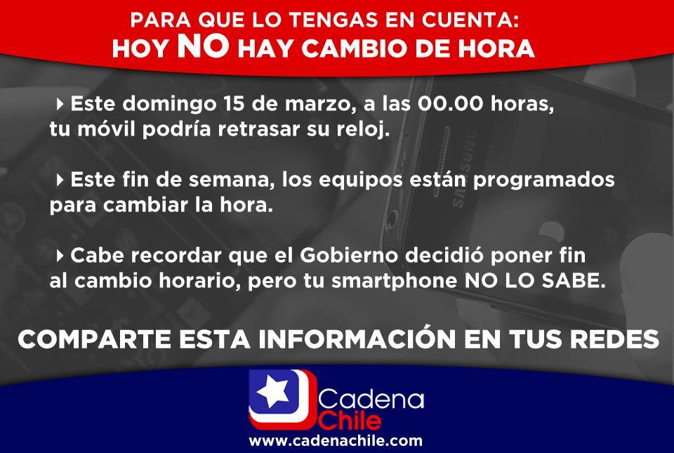 IMPORTANTE: Recuerda que hoy NO se cambia la hora, excepto tu celular. Comparte y difunde esta información. RT http://t.co/dlIeTASXNB