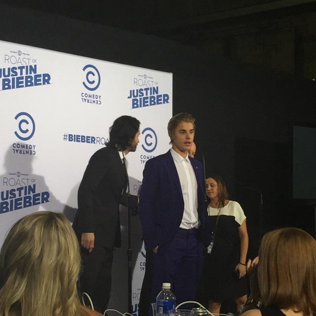 JB in the press room #BieberRoast http://t.co/X6PR32ngRH