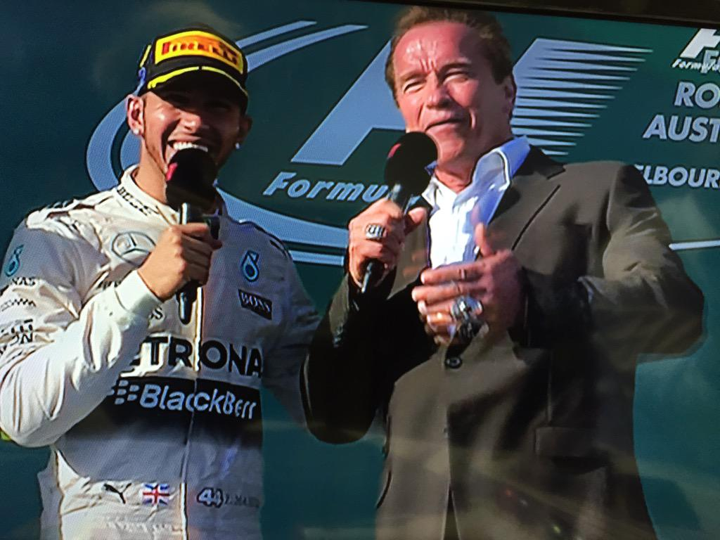 "HAM & Arnie: ""I'll be back"" #ausgp #F1DownUnder http://t.co/QAiLXjumNp"