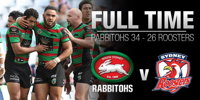 FULL TIME! The Rabbitohs defeat the Roosters here @ANZStadium 34-26 #GoRabbitohs #NRLSouthsRoosters http://t.co/b2bbE253cy