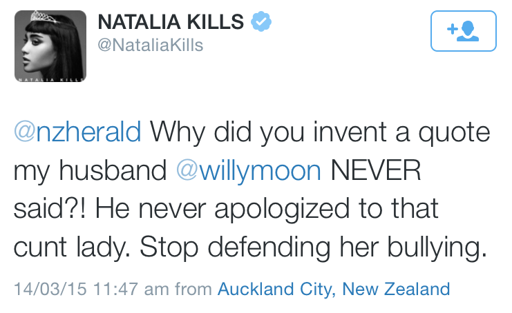 """Today's poorly planed & executed tweet competition goes to @NataliaKills for """"Stop defending her bullying"""" #XfactorNZ http://t.co/eue1UtDjG1"""