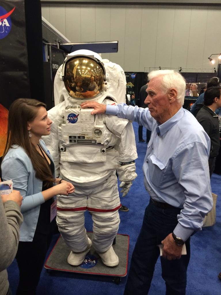 Gene Cernan, last man on the moon, just stopped by the #NASASXSW booth. #jawdrop http://t.co/r0hASUfJF0
