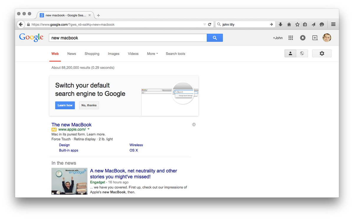 On Firefox, doing a Google search yields literally zero organic results above the fold. Amazing and disappointing. http://t.co/n8bnRdTWy8