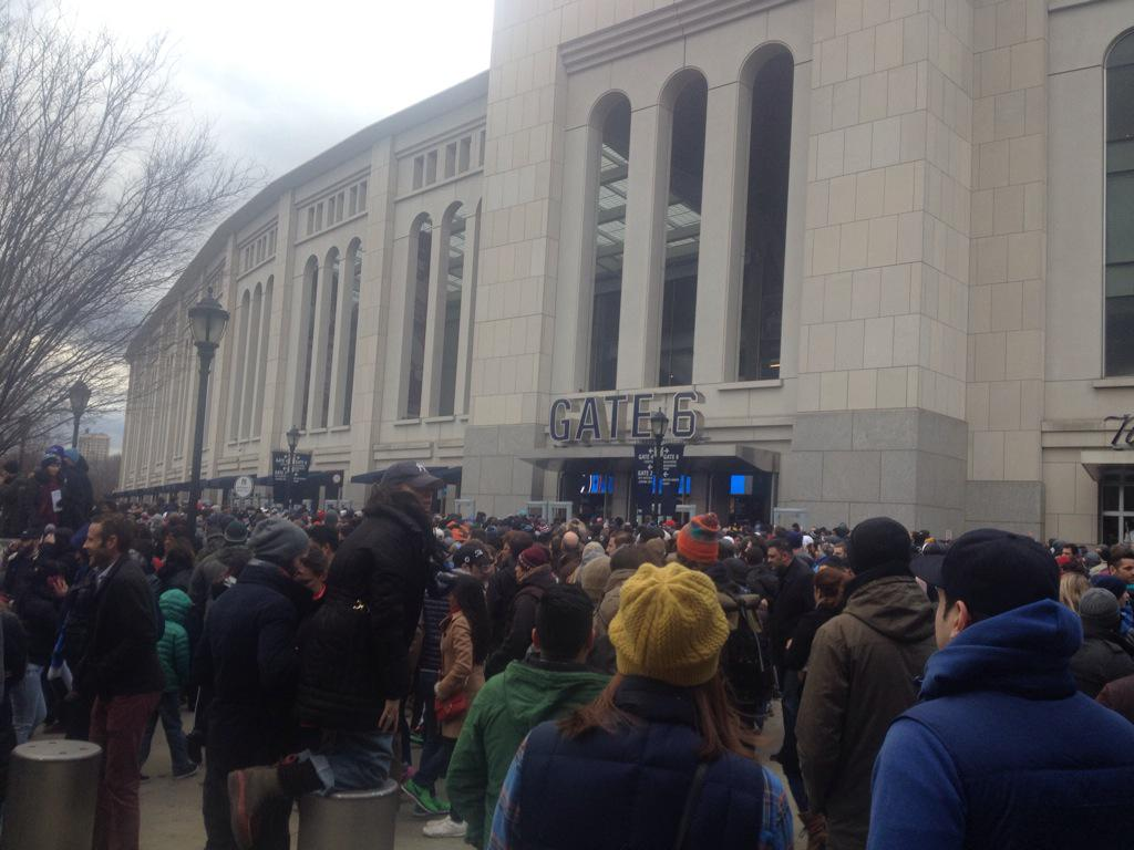Packed entry to #NYCFC opener. Should be a fun crowd today. http://t.co/KdU550ds6L