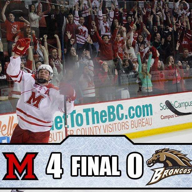 It's all over! @MiamiOH_Hockey moves on to @TheNCHC Frozen Faceoff. http://t.co/uqRiVl0jNX