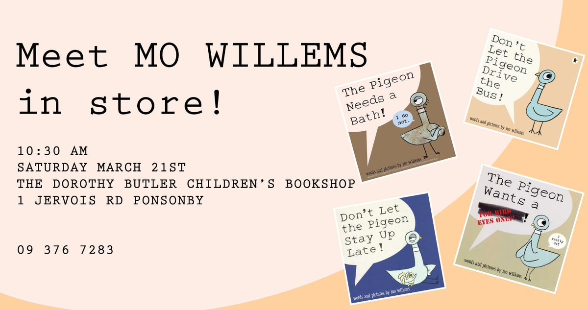 Hey New Zealand! @The_Pigeon author Mo Willems, visits Auckland this weekend at 10.30. Pop along, say hi! http://t.co/g3YlnEH6dk