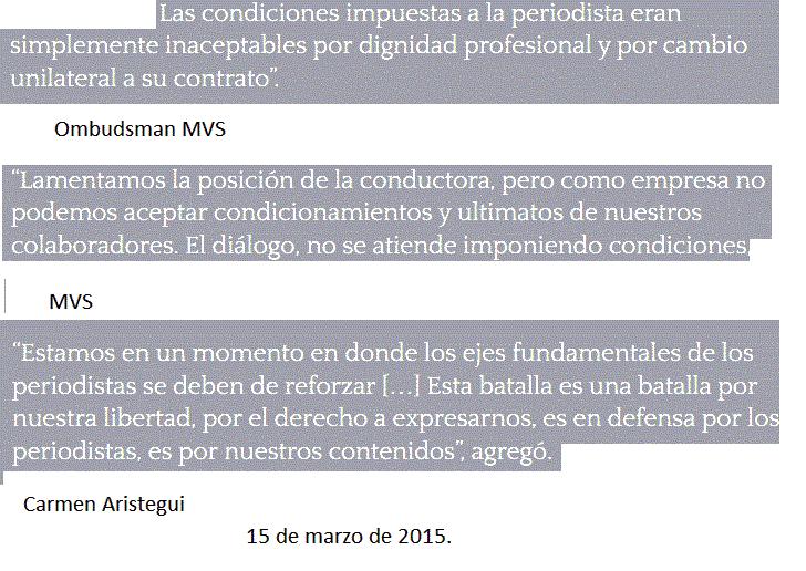Tres frases sobre el despido de Carmen Aristegui de MVS Radio. Ustedes juzguen. #EnDefensadeAristegui2 http://t.co/ZrGVeuae1F