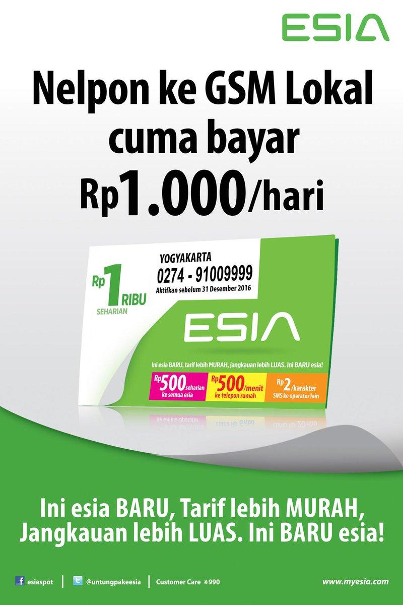 Perdana Esia Baru!  Nelp Rp 1000 ke GSM/hari* & Rp.500/hari ke Esia. Telah tersedia di outlet-outlet terdekat! http://t.co/aBQyh52vAk