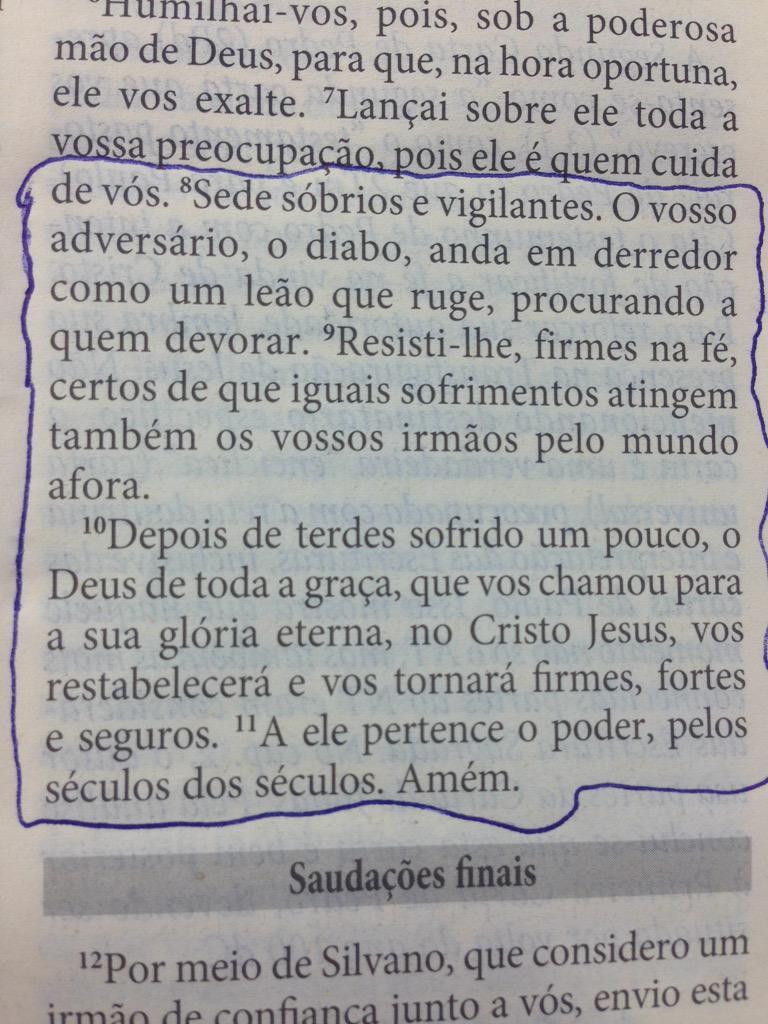 Quer uma Palavra de Deus pela manhã? #1Pedro 5,8-10 http://t.co/SrIVRI9L1e