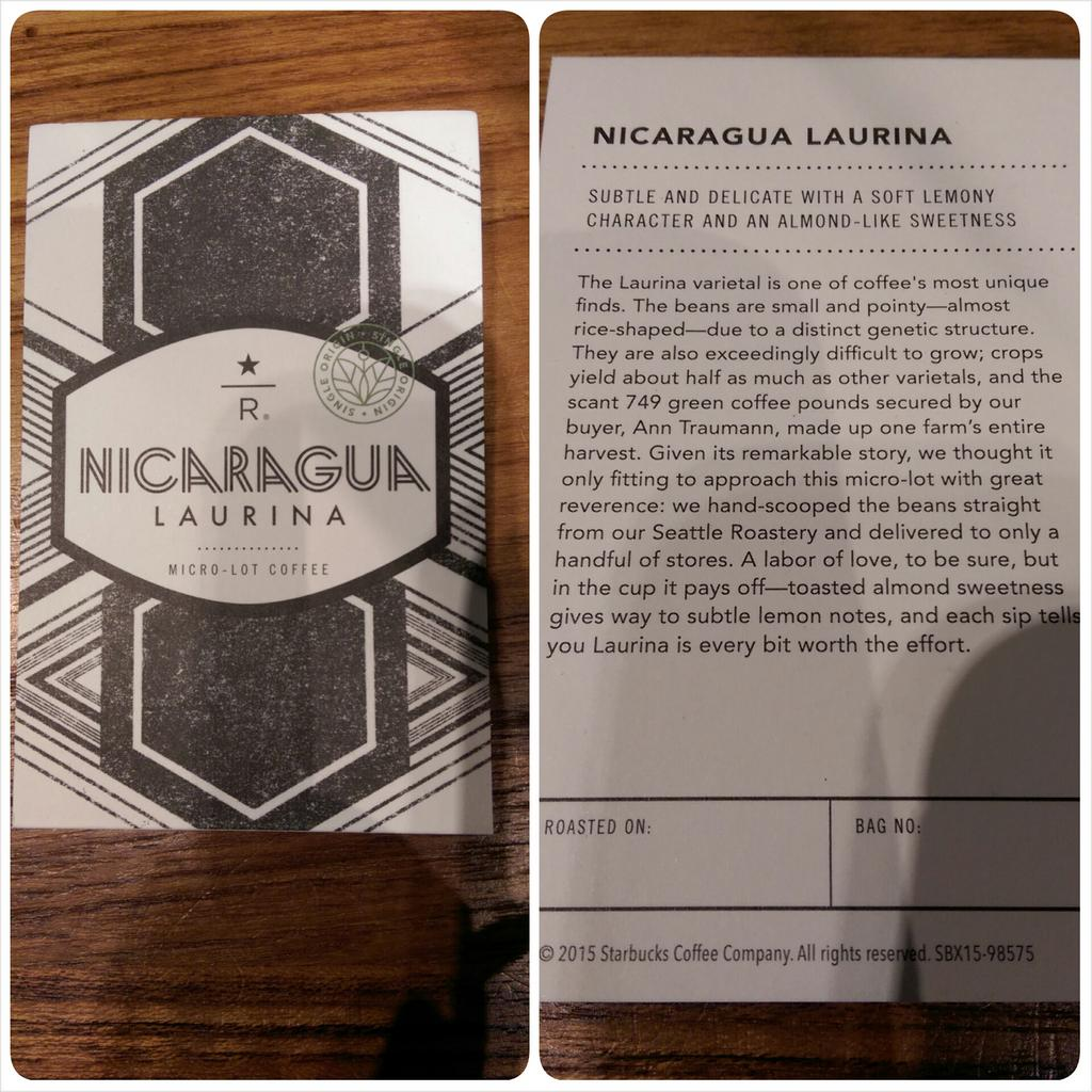 #Starbucks The new micro lot Nicaragua Laurina which launches in just 12 Starbucks stores tomorrow. http://t.co/zio2mjcek2