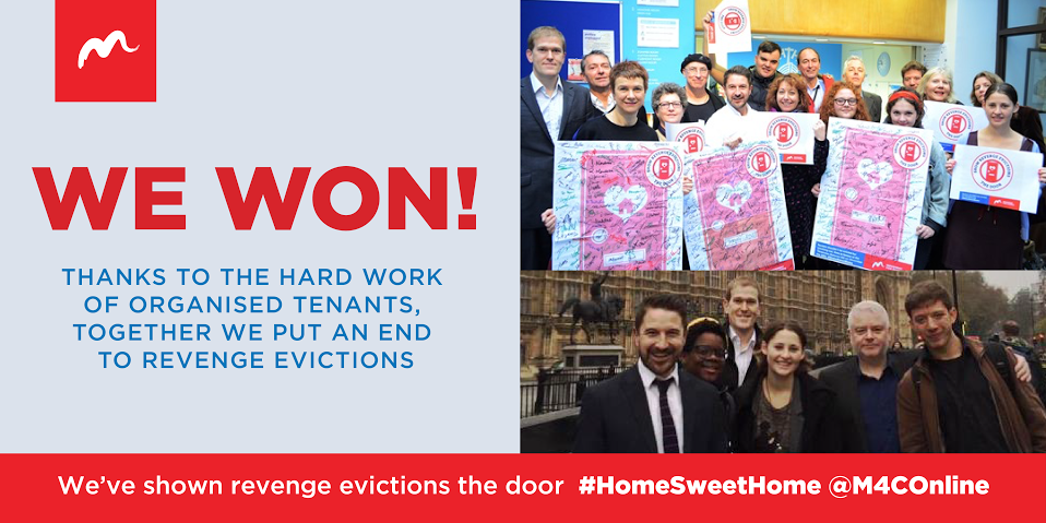 Just announced: Tenants working together have put an end to #RevengeEvictions #HomeSweetHome http://t.co/jsaDo7Yho8