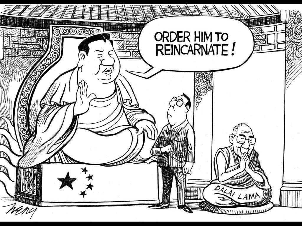 """纽约时报今天漫画:""""命令他转世!"""" http://t.co/L6NHPt1wPh"""