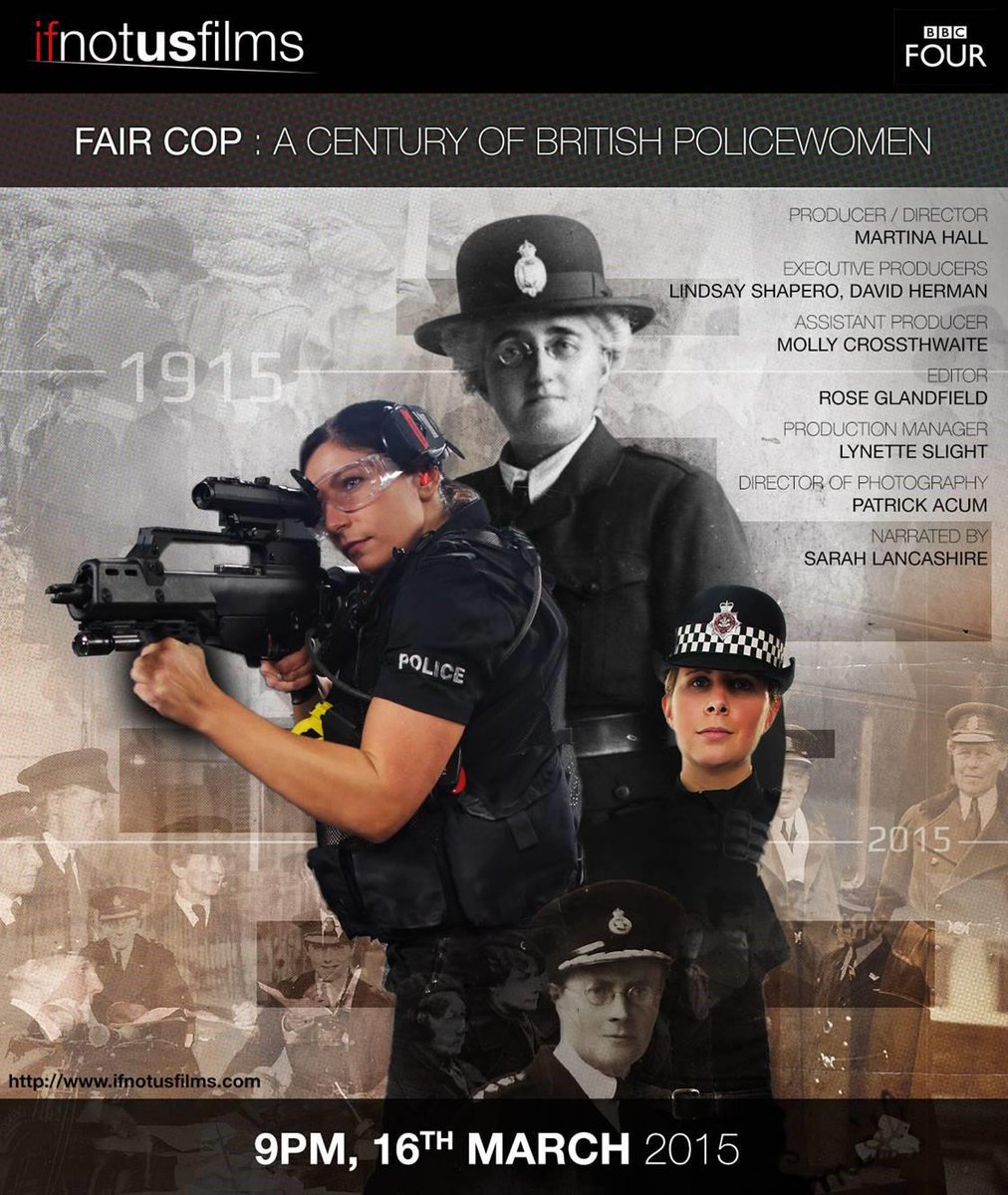 'A Century of British Policewomen' airs 9pm tonight on BBC4. Has interviews with some of the top women in policing http://t.co/DfSiJKYx1M