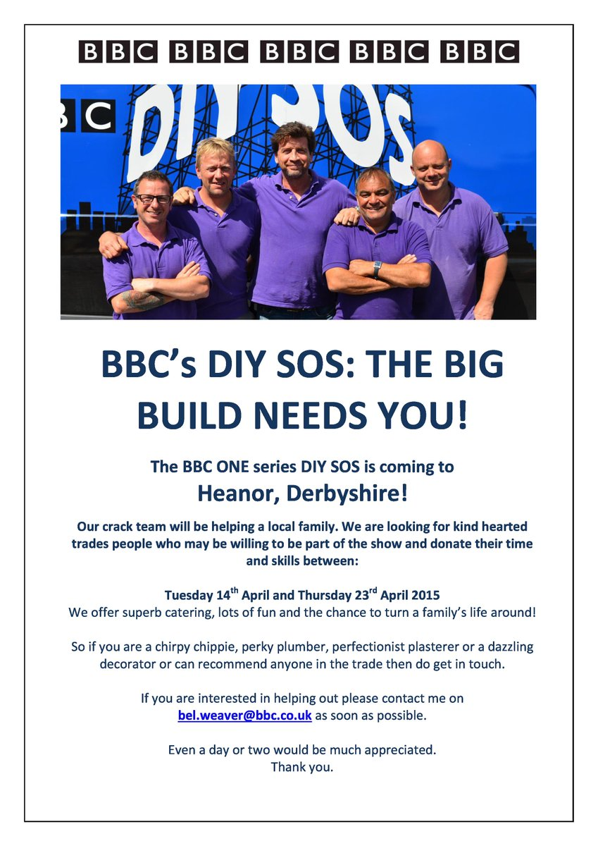 TRADES OF DERBYSHIRE WE NEED YOU FOR OUR BUILD IN HEANOR IN APRIL!!! WANT TO HELP? CONTACT bel.weaver@bbc.co.uk http://t.co/QhBVZnqH5y