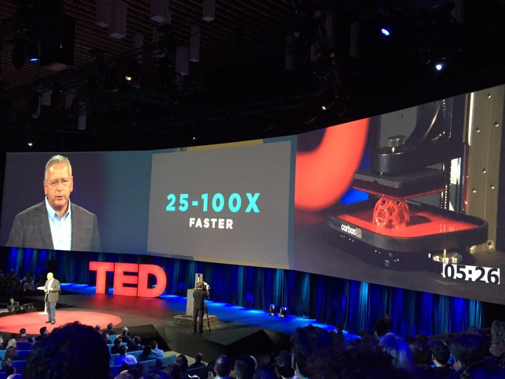 Chemist @Joseph_DeSimone of @Carbon3D speaking at #TED2015 about game changing 3D printing at 25-100x faster. http://t.co/AkfQ4XLIfK