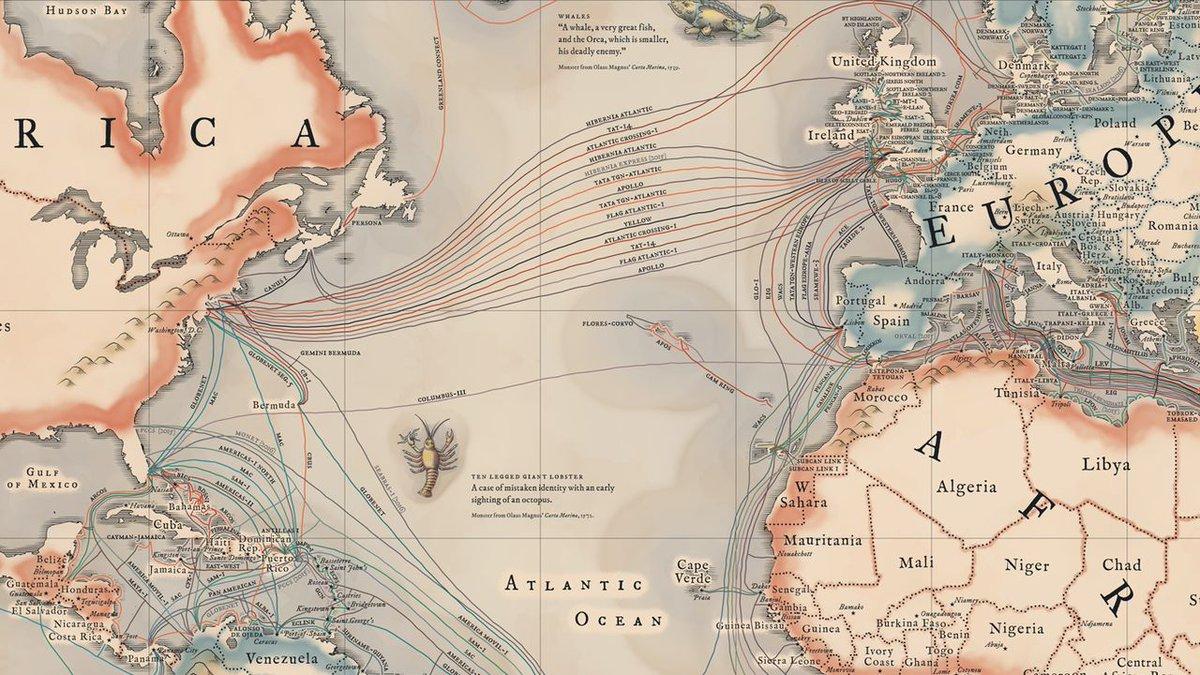 La carte des 299 cables sous-marins qui transportent 99% des données Internet mondiales : http://t.co/qMsfNDuIwr http://t.co/CItNPjSpLF