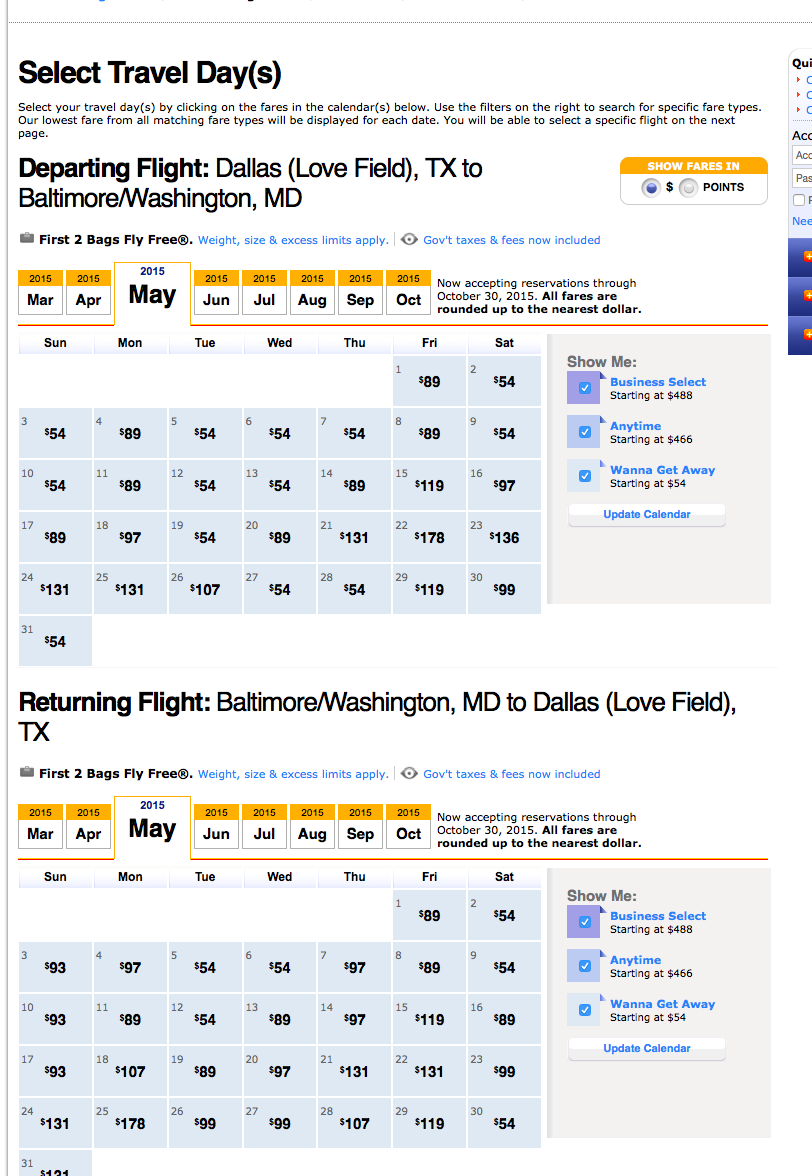 RT @airfarewatchdog: DAL-Baltimore $54 each way Southwest nonstop thru May