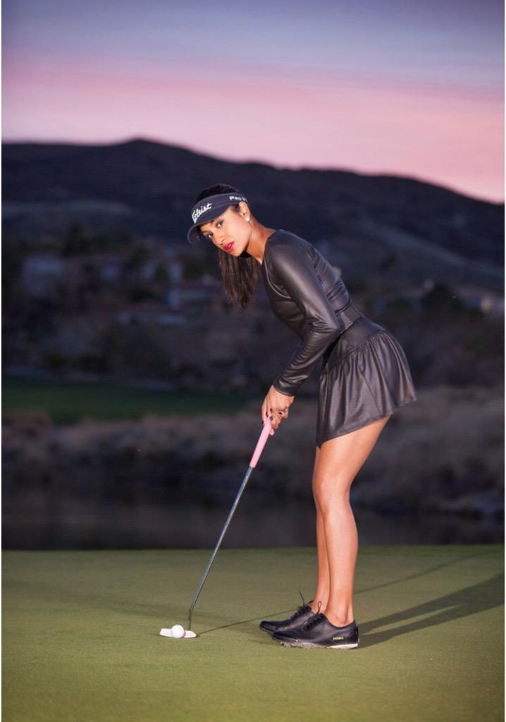 A beautiful leather golf dress that looks amazing on @TheSeemaSadekar: #Golf #Fashion @seemastyle ⛳️