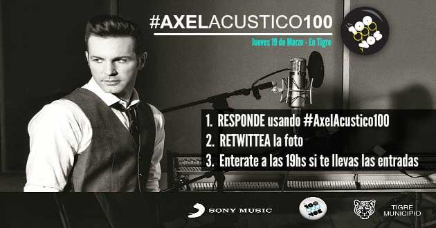 Porque vos lo pediste. #AxelAcustico100 Tenemos más entradas para que estes ahí. @AxelOficial y VOS, ¡Participa! http://t.co/ALGBjv06oz