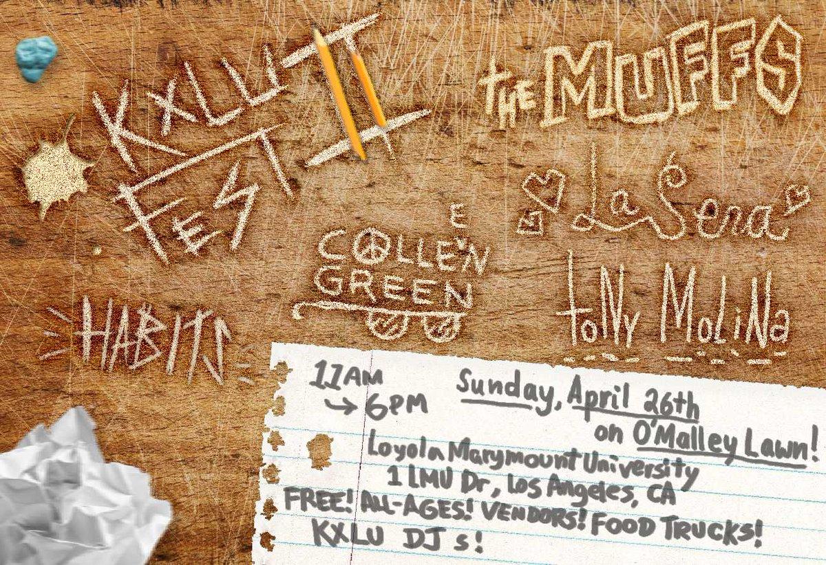 Stoked to announce KXLU Fest II w/ @TheMuffs, @TonyMolina_650, La Sera, @ColleenGreen420 & @Habits_! Tell ur friends. http://t.co/09ust41SJf