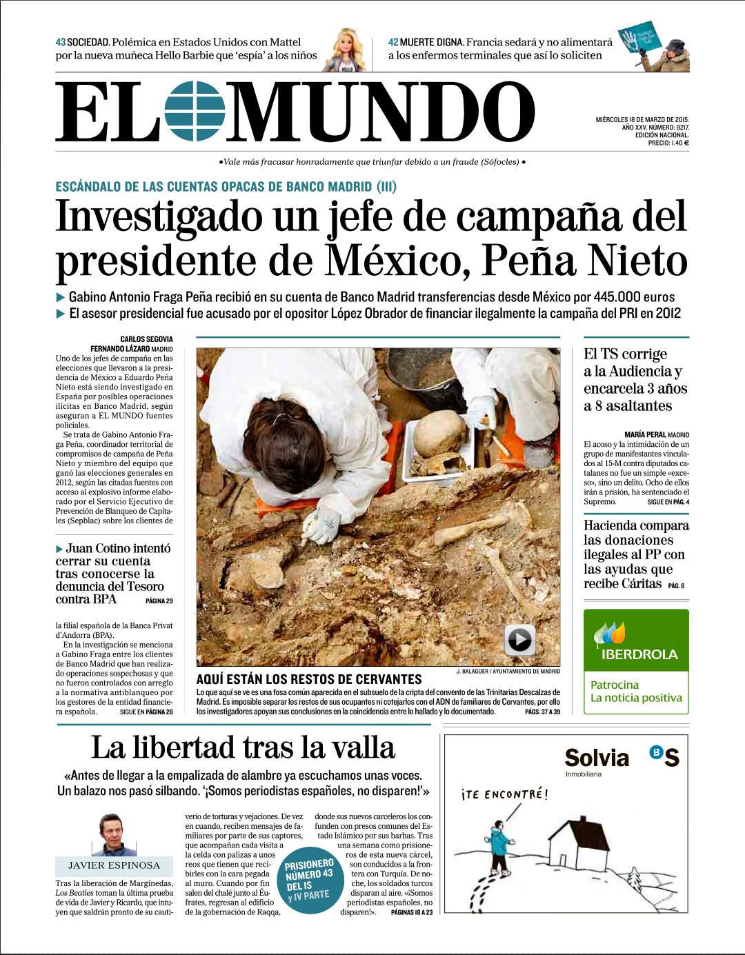 #LaPortada Investigado un jefe de campaña del presidente de México, Peña Nieto http://t.co/HQ0B62UGLR