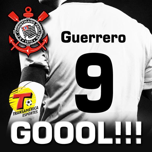 GOOOL DO CORINTHIANS: Guerrero abre o placar. Danubio 0 x 1 Corinthians http://t.co/NBD06hqFG7