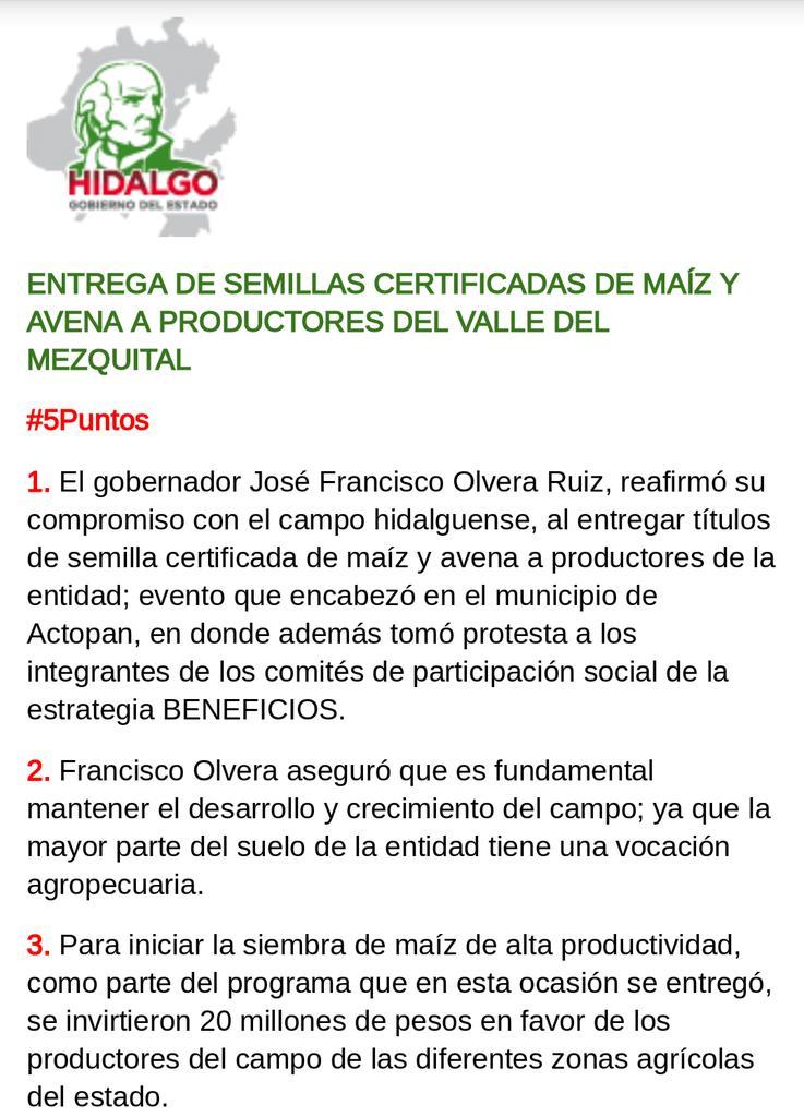 #5Puntos Entrega de semillas certificadas de maíz y avena a productores del valle del mezquital. @Paco_Olvera http://t.co/8u8ZysmYZk