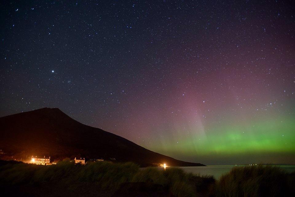 Northern lights #AuroraBorealis over Achill last night ( st Patricks) fab pics by John Nikolai #mayo #ireland http://t.co/OcdT0onUF7