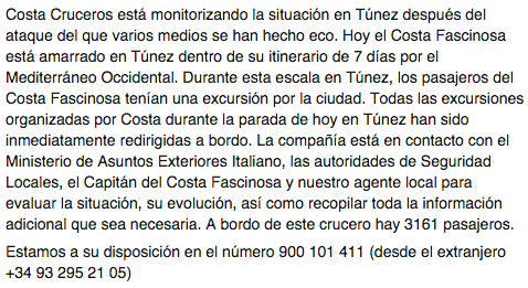 Estamos atentos a la situación en Túnez. Para más información: 900101411, +34932952105 desde el extranjero http://t.co/DXqef4Iium