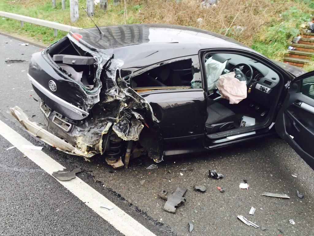 This is my friend's car after it was hit by someone driving whilst on their mobile phone. Thankfully he is fine. http://t.co/sICkl9q3Gv