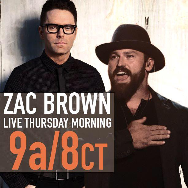 Bobby Bones (@mrBobbyBones): Zac Brown. Tomorrow. RT if you're a fan... http://t.co/3L8UgQC1AS
