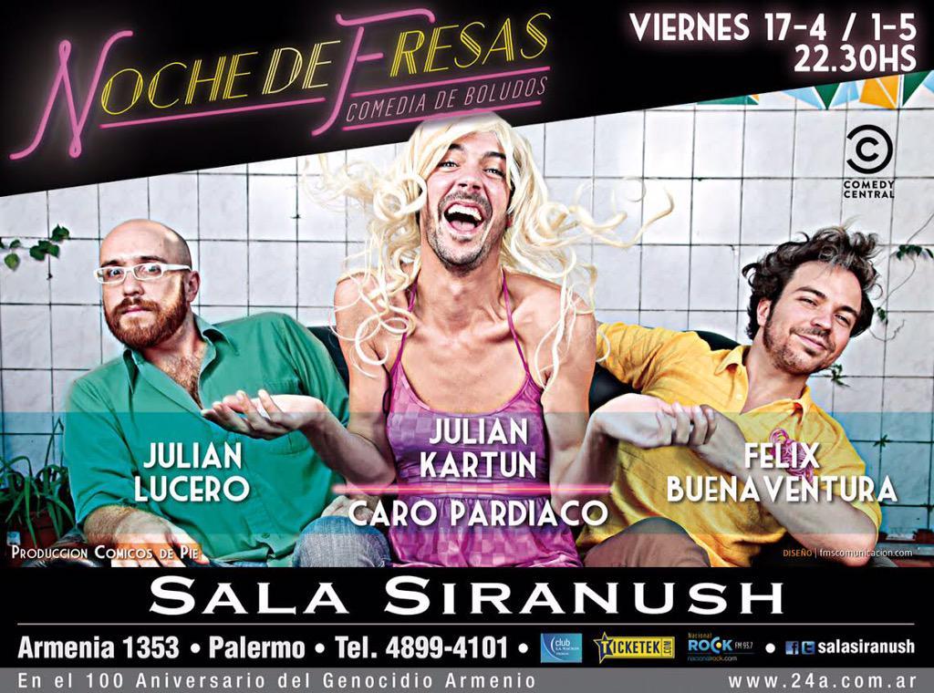 Entradas a la venta para el show de @AndyKlinsman @crococro y @FBuenaventura en @SalaSiranush: http://t.co/9xZqzzQKWX http://t.co/DCuDTYO7Jx