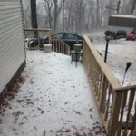 Dudley Haines sent me this pic from Eureka Springs -- lots of hail. Folks seeing flooding, too #4029storms http://t.co/KuFP70LUDH