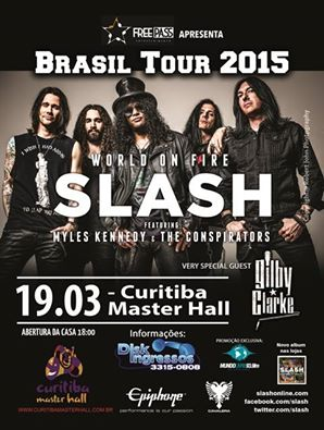 #TOMORROW!  @Slash and Conspirators  GREAT SHOW! CURITIBA!  Venue: Master Hall  SPECIAL GUEST: @gilbyclarke http://t.co/dfRan0P9SS