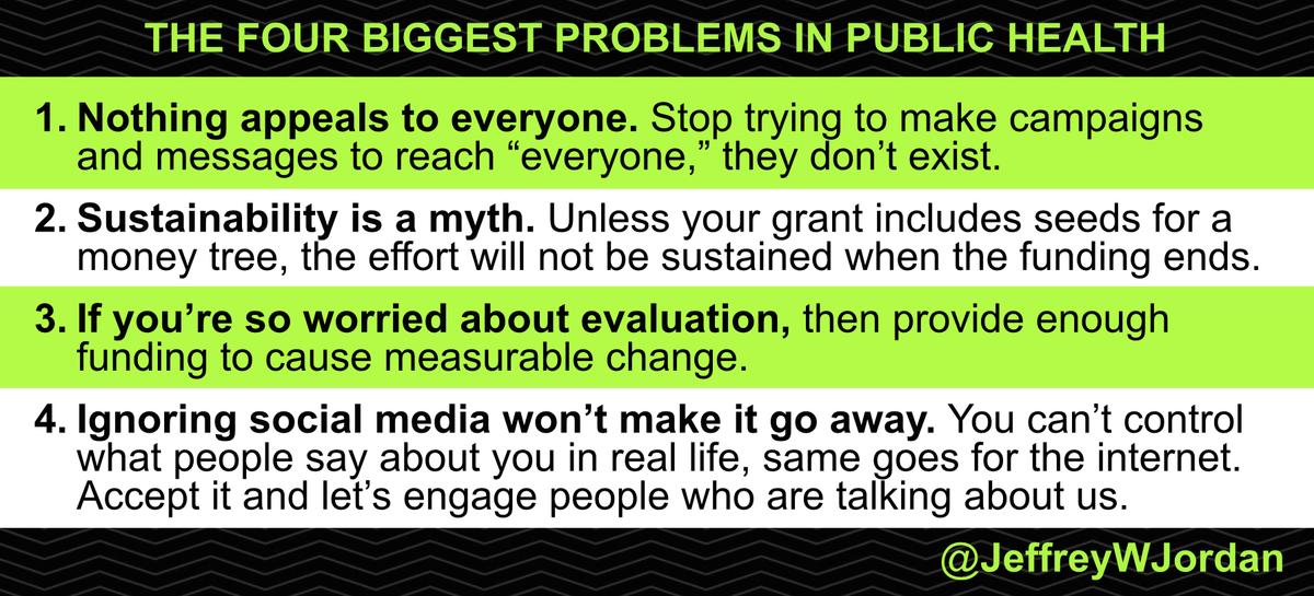 Truth! RT @jeffreywjordan: The four biggest problems in #PublicHealth http://t.co/75gGzMKYHK