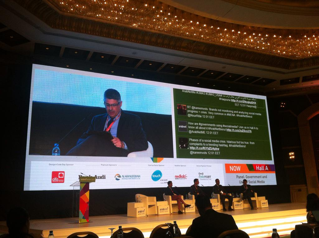 Interesting panel on Government & use of Social media moderated by @patrickattallah #ArabNetMe http://t.co/JE2itTYUdp