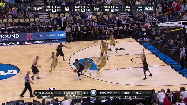 Tough finish for Northeastern, which failed to notice one of its players being guarded by Manti Teo's girlfriend. http://t.co/9bbuXMiMyt