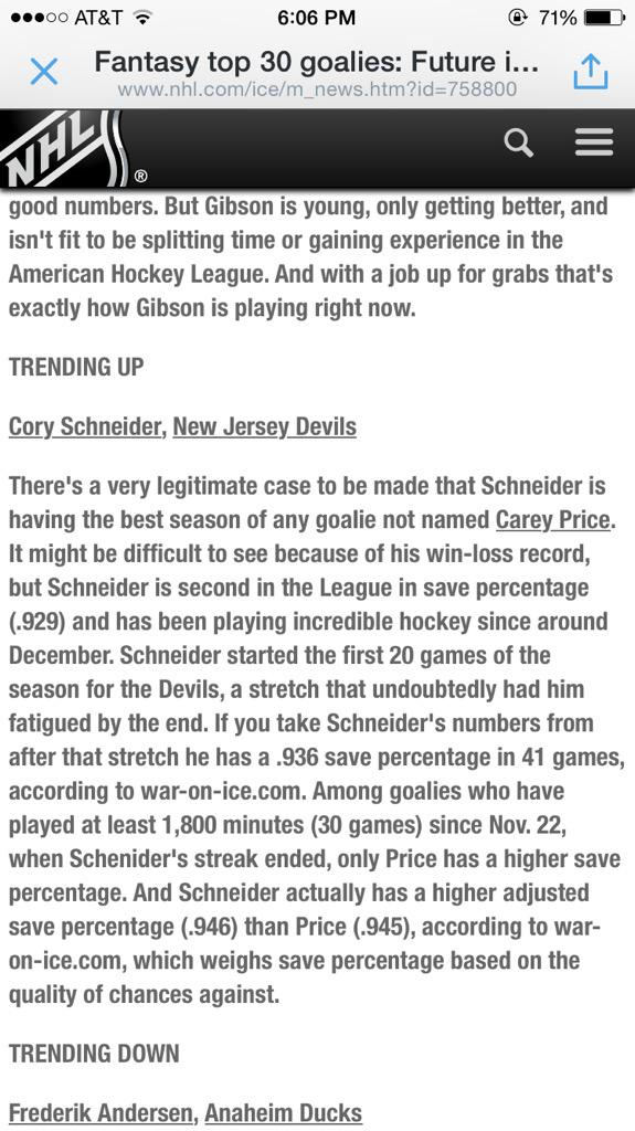 Read the first sentence on Cory. I think the nhl is finally getting it right. @Pitchforkedpuck http://t.co/Fps2Ab3CdI