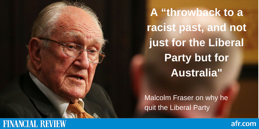 In 2010 an angry Malcolm Fraser quit the Liberal Party. These were his reasons http://t.co/KicXf43qa2 #auspol http://t.co/Jy0vzE5yj4