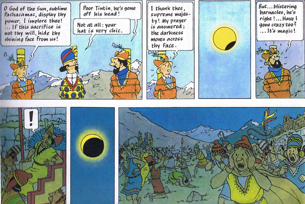 The solar eclipse that saves Tintin from Inca sacrifice is my all-time favourite deus ex machina. http://t.co/lOZf3lMvJ7