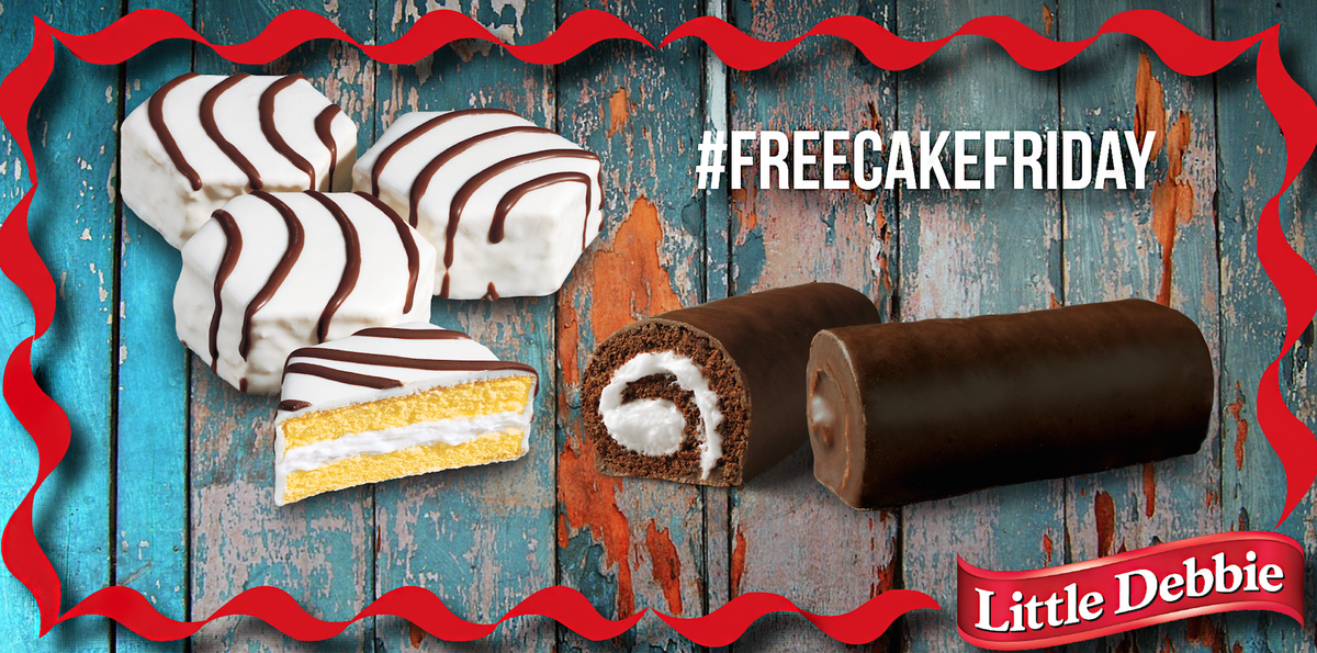 #FreeCakeFriday will be all Swiss Rolls & Zebra Cakes today. RT & Follow for a chance to win! http://t.co/RGZzjqqp7m
