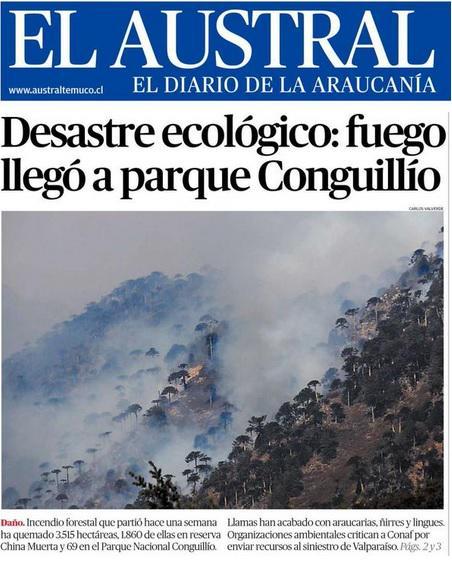 Qué fuerte la portada de El Austral #Conguillio vía @AraucaniaSF http://t.co/kRDuS61JjE