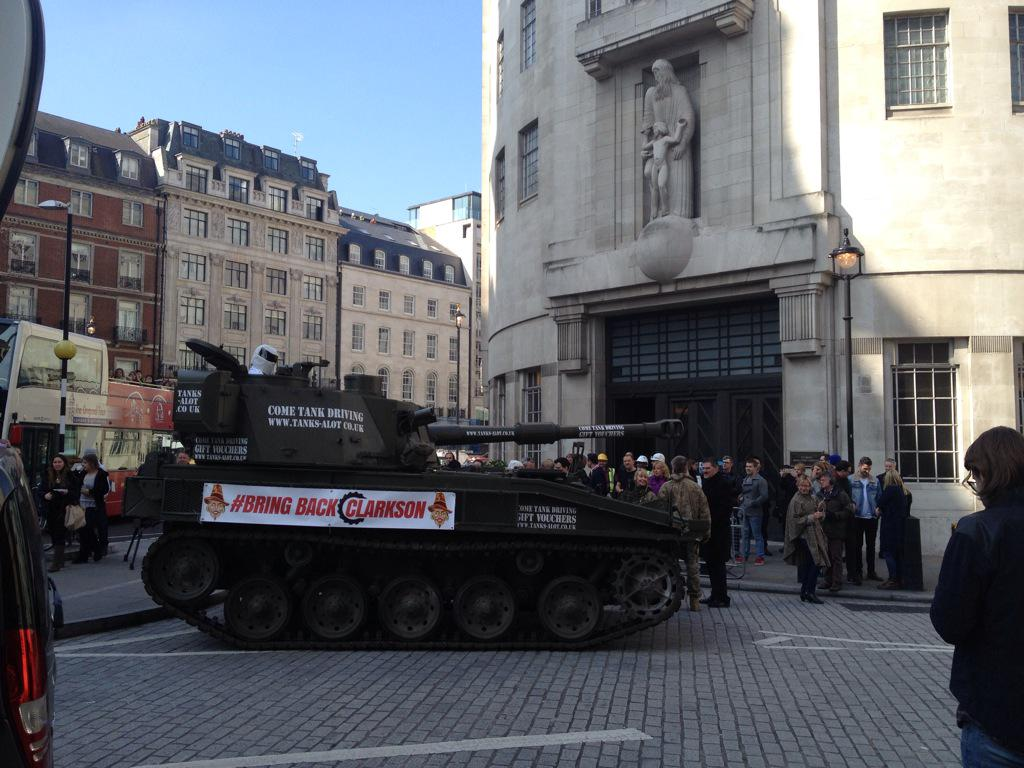 A tank arrived at the BBC today to demand the right for presenters to hit producers http://t.co/WxFSPC8tju