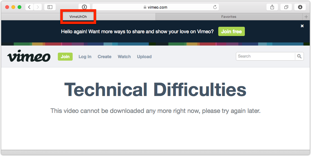 Just noticed the <title> for @vimeo error pages: VimeUhOh. Adorable. http://t.co/geHivtsRvz