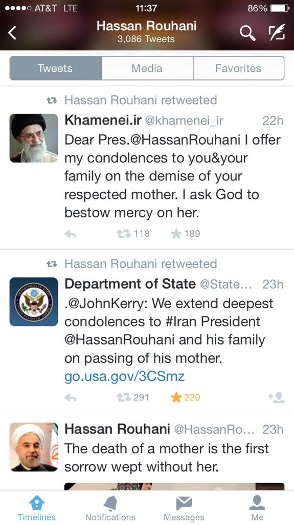 The way we live now: @HassanRouhani retweeted condolences on death of his mother from @JohnKerry and @khamenei_ir http://t.co/VGl8Ktftfv