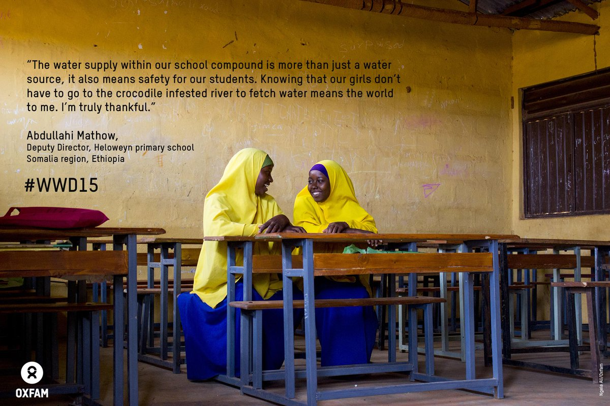 """""""Knowing that our girls don't have 2 fetch H20 in croc infested river means the world to me"""" Abdullahi #WWD15 @Oxfam http://t.co/6UNyaLo6Ap"""