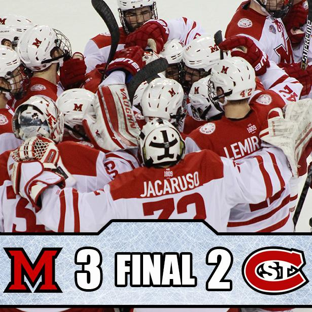 .@MiamiOH_Hockey wins!!! The RedHawks are the NCHC Champions! http://t.co/pRTmMSN67I