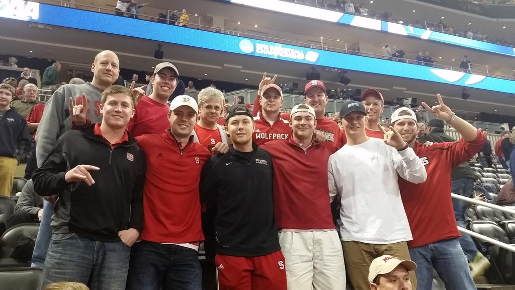 The crew of the Wolfpack Express after a good first half by @PackMensBball  #WPN #Finish #BeatNova http://t.co/8yvBW8Gzov